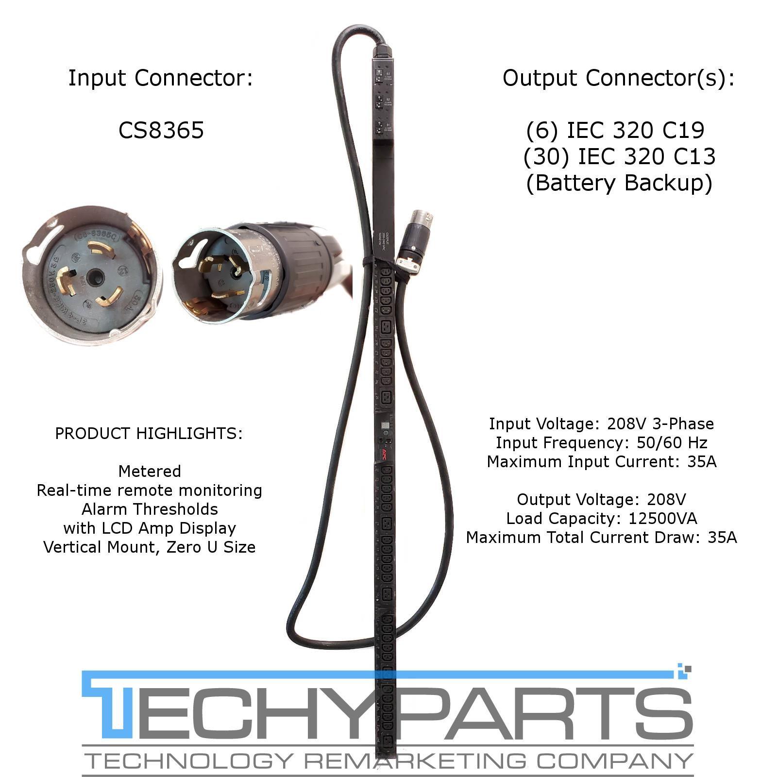 12.5kW C13, APC AP7898 Rack PDU Metered Zero U 6 30 C19 ~ 10/' Cord 208V,